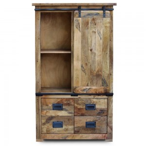 Cromer Slider Mango Wood Industrial Cabinet Wardrobe Pantry Small Cupboard,