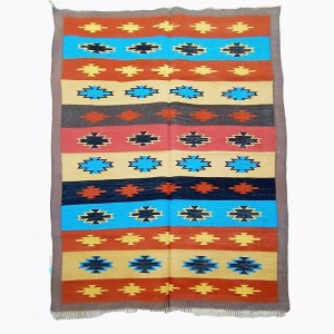 Kilim Wool Handwoven Cotton Dhurrie Durry Rug Jute Floor Covering Pattern 2
