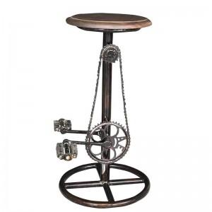 CYCLE STOOL   WOODEN TOP   MANGO WOOD COFFEE FINISH