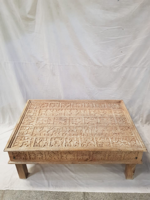 Indian Antique Tribal Hand Carved Art Wooden  Coffee Table 120x80x45cm