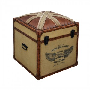 Industrial Mango Wood  Storage Cotton and Leather Chest