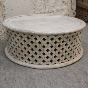 BRISTOL Balimeke wooden round drum mesh Coffee Table Whitewash