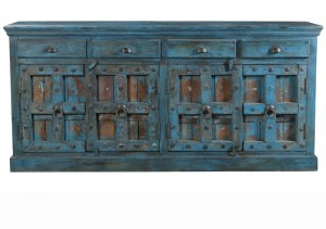 Antique Vintage Doors Large Sideboard Solid Wood And Metal Indian Brocante
