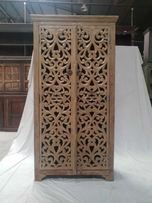 Indian Jali Hand Carved Solid Wooden Beautiful Buffet Cabinet  90x50x192cm