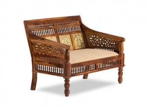 Embossed Antique Brass work Solid Wood Brass Sofa 2 Seater