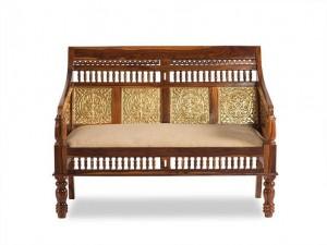 Embossed Antique Brass work Solid Wood Brass Sofa set