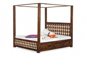 Mogra Antique Brass Work Solid Wood Poster Bed Romeo Brass Royale
