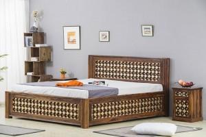 Mogra Antique Brass Work Solid Wood Brass Bed D with Storage