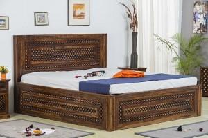 Mogra Antique Brass Work Solid Wood Brass Bed B with Storage