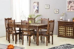 Mogra Antique Brass Work Solid Wood Brass Dining Set A