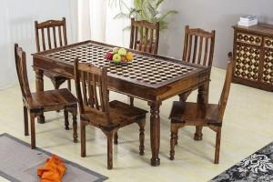 Mogra Antique Brass Work Solid Wood Brass Dining Set D