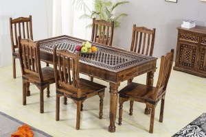Mogra Antique Brass Work Solid Wood Brass Dining Set B