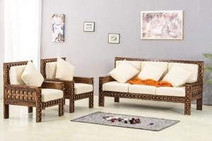 Mogra Antique Brass Work Solid Wood Brass Royal Sofa set
