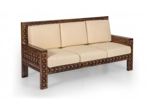 Mogra Antique Brass Work Solid Wood Brass Royal Sofa 3 Seater