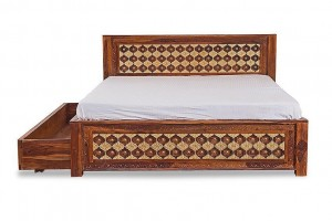 Mogra Antique Brass Work Solid Wood Brass Bed A with Trolley Storage