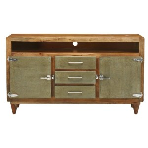 Cromer Indian Solid Wood Tv Media Console Cabinet Natural