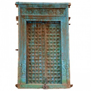 Hand Carved 19th century Extra Large Indian Door Blue