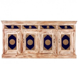 Indian Embossed Brass work Solid wood Large Sideboard Buffet Hutch White 1.8m