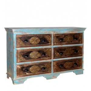 Indian Embossed Antique Brass work Solid wood Rustic Blue 6 Drawer Dresser, Chest of Drawers, Sideboard