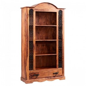 Takat Metal Jali Natural Large Bookcase with one drawer