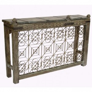 Antique Metal Jali Panel Console Hall Table B