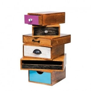 Vivid Colour Solid Wood Modern Tallboy Lamp table with drawers 30x35x60cm