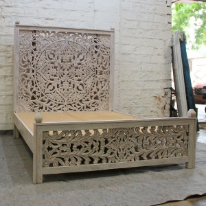 Dynasty hand carved Indian wooden Kerri bed frame Grey
