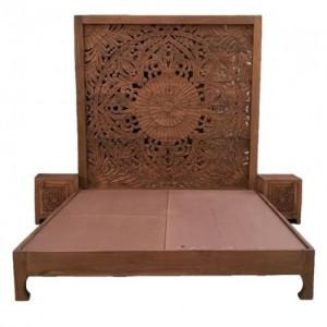 Dynasty hand carved Indian Solid wooden bed frame Honey