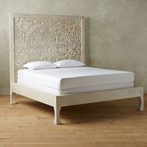 Dynasty hand carved Indian Solid wooden bed frame White