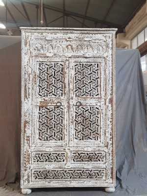 Indian Hand Carved Solid Wooden Beautiful Buffet Cabinet Sideboard 107x43x181cm