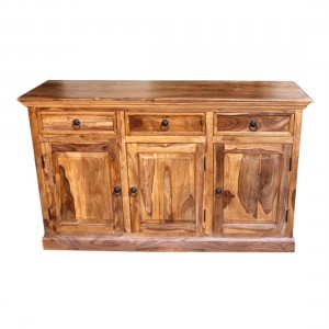 Indian Wooden Buffet Cabinet Sideboard With Doors & Drawers Natural 150x45x90 Cm