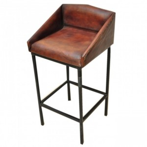 "Aged Leather ""ELI"" Metal Bar Chair"