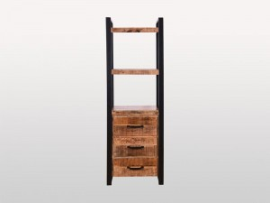 Industrial Solid Wood Bookshelf With Drawers