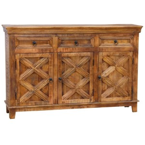 X - Design Rustic  Hand Carved 3 Door Sideboard Buffet with 3 Drawers