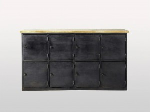 Metal Factory Industrial Indian Solid Wood Buffet Sideboard With 8 Drawers