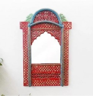 Indian Hand Carved Mehrab Jharokha Mirror frame Natural Red