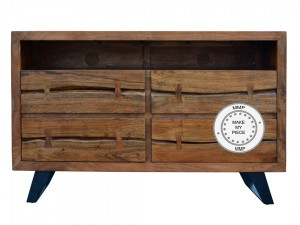 Solid Industrial Wood Chest of Drawers Natural