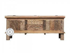 Indian Hand Carved Solid Wood Chest storage box Natural