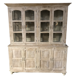 Farmhouse Style Glass Cupboard Cabinet Whitewashed
