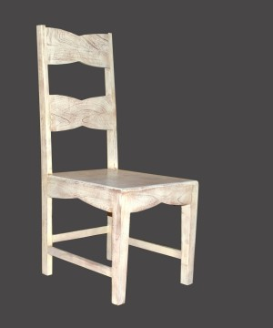 MADE TO ORDER Indian Mango Classic Wooden Seating Chair White 45 x 53 x 110 Cm