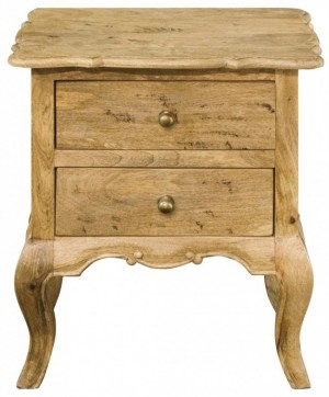 French Colonial Style 2 Drawers Bedside Cabinet - Honey Brown