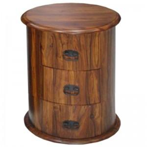 Takat Metal Jali Natural Solid Wood 3 Drawer Drum Chest