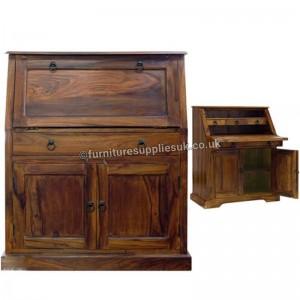Takat Metal Jali Natural Solid Wood Bureau Writing Desk