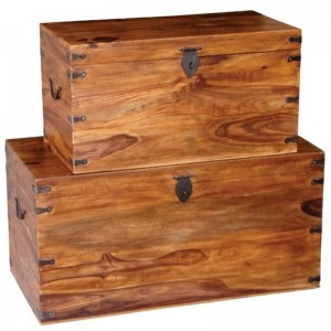 Takat Metal Jali Natural Solid Wood Long Trunk Set of 2 Chests