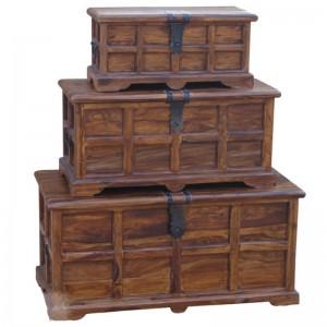 Takat Metal Jali Natural Solid Wood Storage Chests (Set of 3)