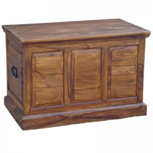 Takat Metal Jali Natural Solid Wood Trunk Chest Ottoman Box