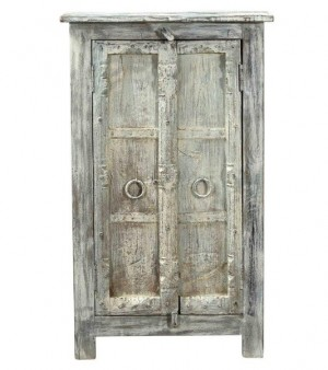 Antique Vintage 2 Door Paneled Cabinet In Scrap Wood India Brocante