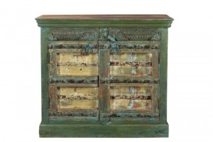 Antique Vintage Doors Cabinet With Drawers Solid Dark Wood Indian Brocante