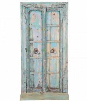 Antique Blue Colored Vintage 2 door Cabinet in scrap wood