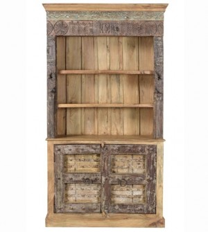 Antique Vintage Hand Carved Doors Bookshelf Solid Natural Wood India Brocante